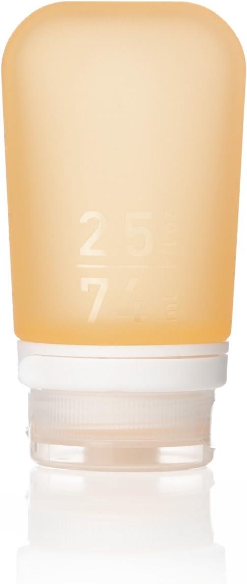 humangear GoToob+ Silicone Travel Bottle with Locking Cap, Medium (2.5oz), Orange
