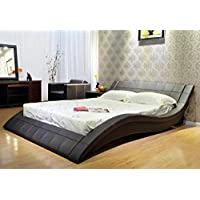 Greatime California King Wave-like Shape Upholstered Bed Chocolate Brown Finish