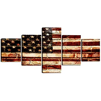 Artwork for Living Room America Retro USA Flag Painting on Canvas Posters and Prints United States Pictures Modern Home Decoration Gallery-wrapped 5 Panel Wall Art Stretched and Framed (50''Wx24''H)