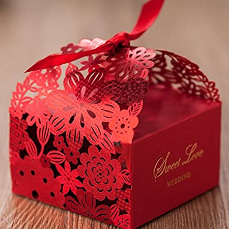 vstoy diy laser cut flower wedding favors boxes with candy boxes