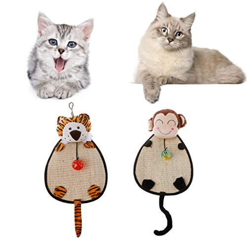 Qupida Cat Scratch Pads Mat With Small Ball Nature Sisal Toy Pet Cat Dog Scratching Training Play Toy (Monkey) Dog Training Ramp