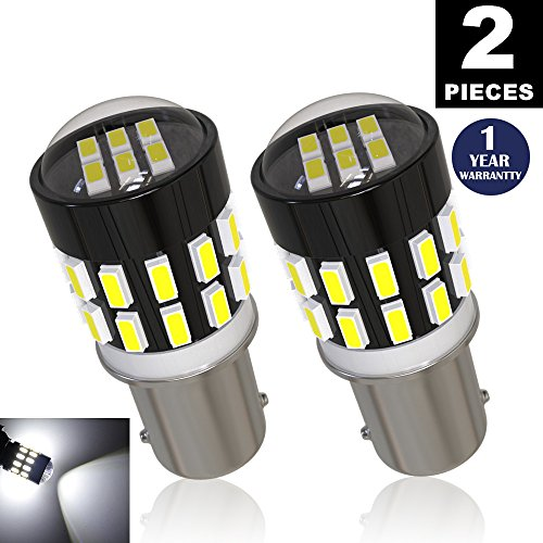 LUYED 2 x 360LM Super Bright 3014 30-EX Chipsets Lens BA9 BA9S 53 57 1895 64111 LED Bulbs Used For Side Door Courtesy Lights Map Lights,Xenon White (Led Ba9s)