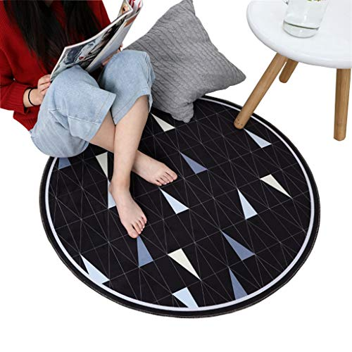 Rugs Round Printed Environmentally Friendly Floor mat Safely Does not Hurt The Floor (Color : Black, Size : 100100cm)