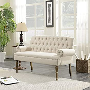 white vintage couch. Fine Vintage Belleze Button Tufted MidCentury Settee Upholstered Vintage Sofa Bench  With Linen Fabric Wood Legs For White Couch