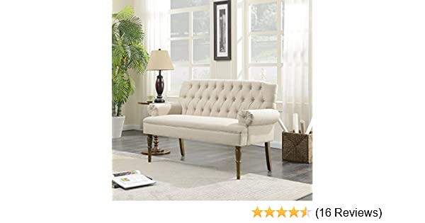 Amazon.com: Belleze Button Tufted Mid Century Settee Upholstered Vintage Sofa  Bench Linen Fabric Wood Legs, White: Kitchen U0026 Dining
