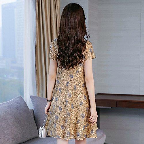 La Color Foto De Lace Hollow Thin Dress Skirt Long Sleeve Ladies Slim Summer Mujeres Slr HOqSP