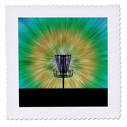 3dRose Tie Dye Disc Golf Basket - Colorful Disc Golf Tie Dye Basket Design - Quilt Square, 6 by 6-Inch (qs_173456_2)