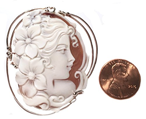 Cameo Pendant Summer Dream Sterling Silver Master Carved Italian Sardonyx Shell by cameosRus (Image #2)