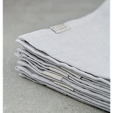 Pure Linen Napkins, Stonewashed 100% Linen, Flax Napkins, Dove Grey Linen Napkins, Grey linens, Grey Kitchen linens, Linen Table Napkins, Soft Natural Napkins (8)