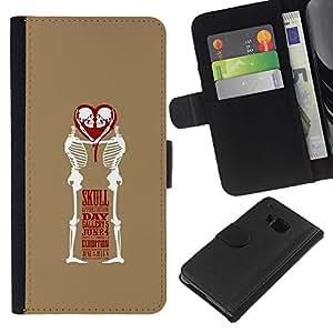 Be-Star la tarjeta de Crédito Slots PU Funda de cuero Monedero caso cubierta de piel Para HTC One M9 ( Heart Skull Day June 4 Brown Heart )
