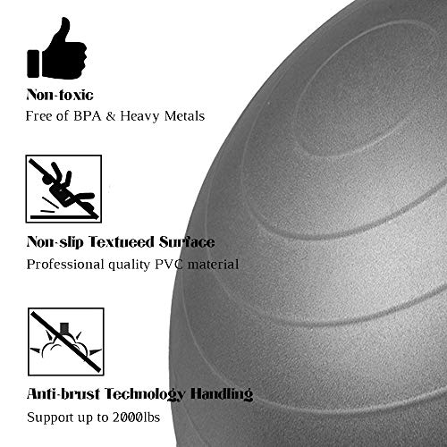 BigTron Yoga Ball Chair (65cm) - Stability Ball Anti- Burst & Anti-Slip with Inflatable Stability Base & Resistance Bands for Office, Yoga, Pilates, Birthing, Balance & Fitness