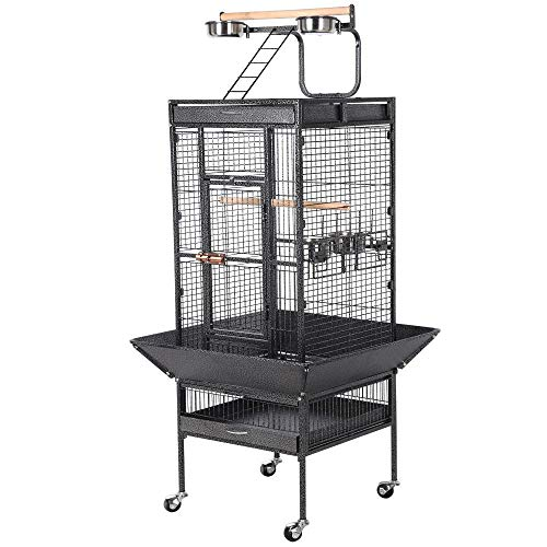 - Yaheetech Wrought Iron Parrot Bird Cage Playtop Cockatiel Cockatoo Birdcages (61