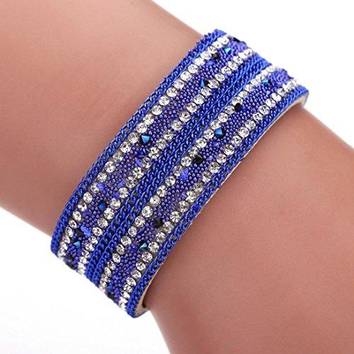Cowhide Crystal Rhinestone (Welcomeuni Women Bohemian Crystal Cowhide Bracelets Wrist Chains Gift (Blue))
