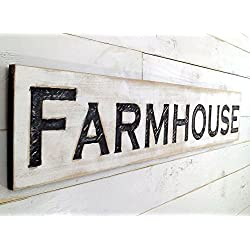 "Farmhouse Sign Horizontal - Carved in a 48"" Wide Cypress Board Rustic Distressed Shop Advertisement Farmhouse Style Restaurant Cafe Wooden Wood"