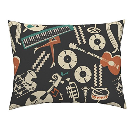 - Roostery Music Musical Instruments Piano Ballerina Guitar Music Notes Standard Knife Edge Pillow Sham Jazz_Collection_Mix_Negative by Chicca Besso 100% Cotton Sateen