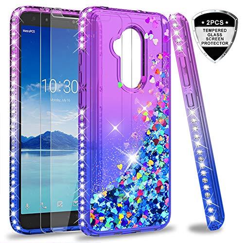 Alcatel 7 Case, T-Mobile Revvl 2 Plus Case (Not fit Revvl 2) with Tempered Glass Protector [2 Pack] for Girl Women,LeYi Glitter Bling Diamond Liquid Phone Case for Alcatel 7 Folio ZX Purple/Blue