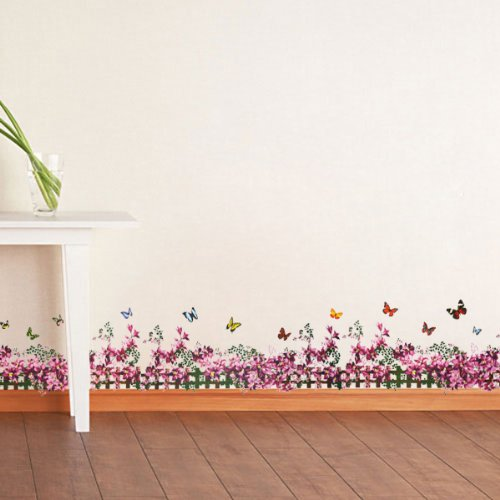 DNVEN 71 inches x 10 inches Purple Tulip Morning Glory Blooms Flowers Vine Fences with Butterflies Baseboard Stripe Border Wall Decals Kids Room Nursery Bedrooms Decals Removable Wall Stickers Murals