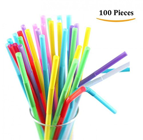 TIENO 100 Pieces Assorted Colors Disposable Drinking Stra...