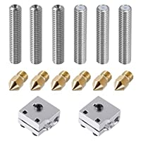 EAONE 6pcs 30mm Length Extruder 1.75mm Tube and 6pcs 0.4mm Brass Extruder Nozzle Print Heads for MK8 Makerbot Reprap 3D Printers (Bonus: 2pcs Aluminum Heater Block) by EAONE