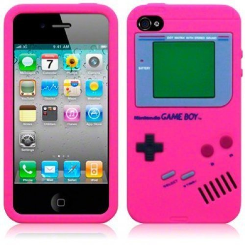 OnlineBestDigital - For Ipod Touch 4th Cover / iPhone 4 Gameboy Style Silicone Skin Case / Cover / Shell - Hot Pink (Ipod Touch 4 Gameboy Case)