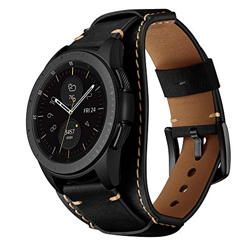 (Balerion Cuff Genuine Leather Watch Band,Compatible with Galaxy Watch 42mm,Gear Sport,Gear S2 Classic,Fssil Q Control and Other Standard 20mm Band Width Watch,Black)