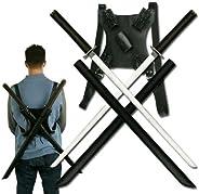 Snake Eye Tactical Leonardo Dual Ninja Swords with Back Carrying Scabbard