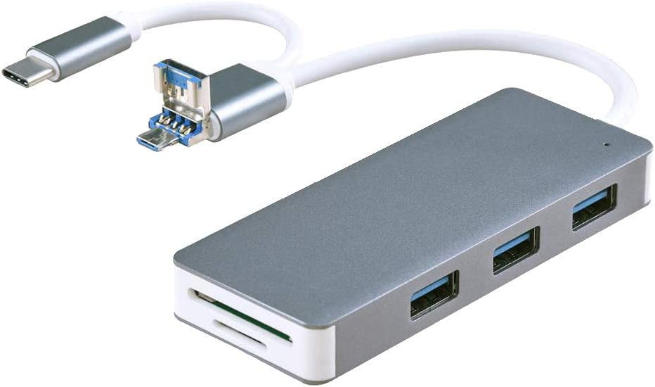 3xUSB 3.0 Type C SD//TF Card Reader Gray+Black Almencla 2 Pieces USB Hub Micro USB Power Delivery