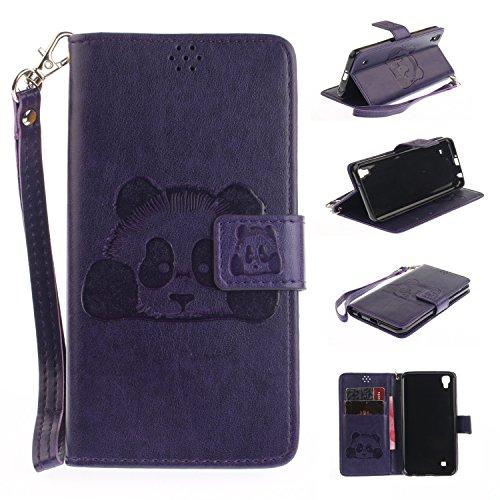 LG X Power Hülle Leder Panda-Prägung, Lomogo Schutzhülle Brieftasche mit Kartenfach Klappbar Magnetverschluss Stoßfest Kratzfest Handyhülle Case für LG X Power (K220) - ETOXI23269 Schwarz Violett