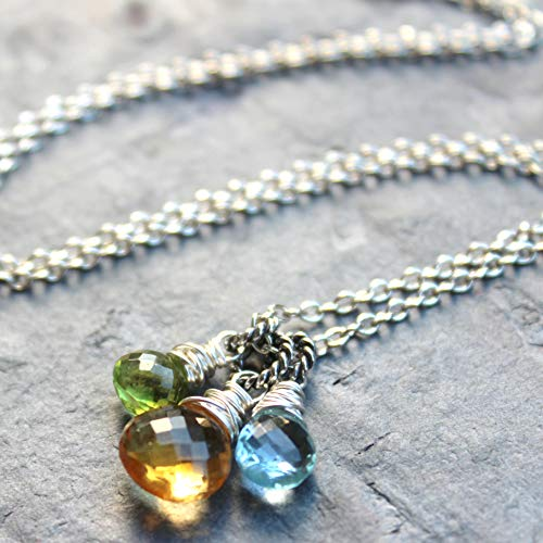 Trio Gemstone Pendant Necklace Citrine Peridot Blue Topaz Sterling Silver Honey Green 18 Inch