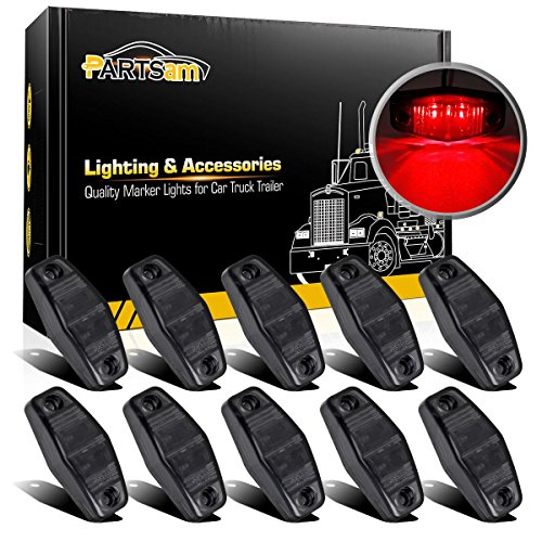 (Partsam 10Pcs 2.5 Inch Oval Red LED Side Marker and Clearance Lights Smoke Lens 2 Diodes Waterproof 12V Sealed Surface Mount Universal Truck Trailer Side Fender Lights Lamps (2.54in. x 1.06 in.))