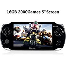 Handheld Game Console,16GB 5 Inch Screen 2000 Classic Game, Support Video & Music Playing, Built-in 3M Camera, in 1 USB Charge, Birthday and Holiday gift Best Gift for Kids (Black)