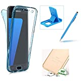 Case for Samsung Galaxy A7 2017 A720,Silicone TPU Cover for Samsung Galaxy A7 2017 A720,Herzzer Ultra thin Soft TPU Gel Slim Fit Scratch Resistant Front and Back Full Body 360 Degree Protective Case for Samsung Galaxy A7 2017 A720 + 1 x Free Blue Cellphone Kickstand + 1 x Free Blue Stylus Pen - Blue