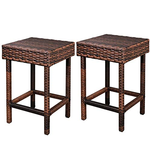 Diamondgift Bar Height Stool Steel Frame Harbor Wicker Outdoor Furniture Palm Set of 2 ()