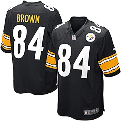 d35d80d8e Amazon.com   Nike NFL Pittsburgh Steelers Antonio Brown Game Jersey Black  Men s Size Large   Sports   Outdoors