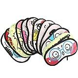 Sealike 4 Pcs Cute Cartoon Sleeping Eye Mask Cover Funny Novelty Eye Cover with Stylus