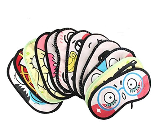 Happy Will 4 Pcs Cute Cartoon Face Sleeping Eye Mask Cover Travel Shades Blindfold Eye Mask with (Funny Face Masks)