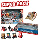 Tony Hawk Box Boarders Super Pack Kidney Bowl Set - With 3 Assorted Skateboarders, 1 Mystery Tony Hawk Figure, 4 Trick Ramps, 1 Clip-on Fisheye Lens and 1 Camera Holder - Skate, Shoot, Share - Ages 4+