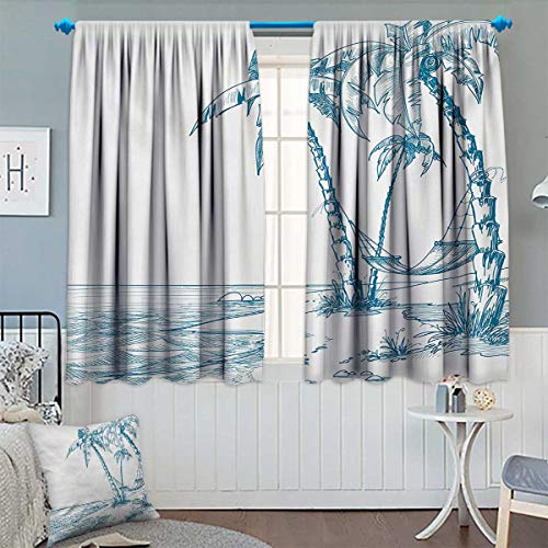 Chaneyhouse Beach Thermal Insulating Blackout Curtain Modern Illustration of a Tropical Beach with Palm Trees and Hammock Hawaiian Relax Patterned Drape for Glass Door 63