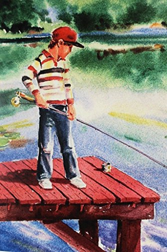 first-time-fishing-8x10-watercolor-painting-art-print-by-barry-singer-young-boy-fisherman-on-a-dock-