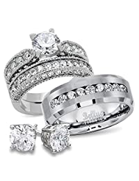 His and Hers CZ Bridal Matching Titanium Stainless Steel Wedding Rings Set + FREE STERLING SILVER EARRINGS