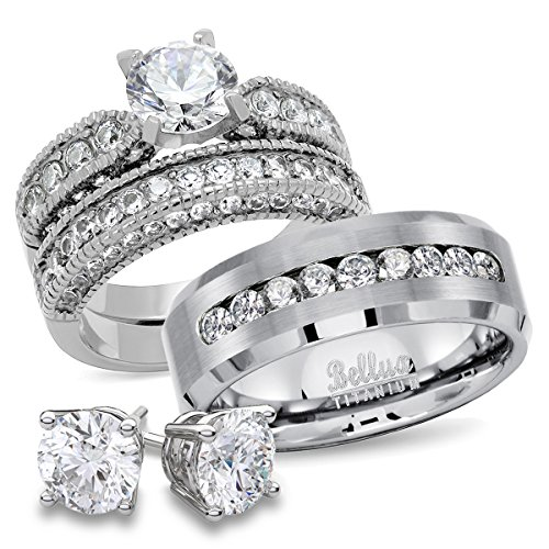 Bellux Style His and Hers CZ Bridal Matching Titanium Stainless Steel Wedding Rings Set + FREE STERLING SILVER EARRINGS (Women's Size 07 & Men's Size 09) ()