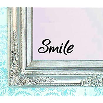 BERRYZILLA Smile Decal Vinyl Sticker Bathroom Mirror Wall Art Motivational Quote Mirror Living Room Home Window