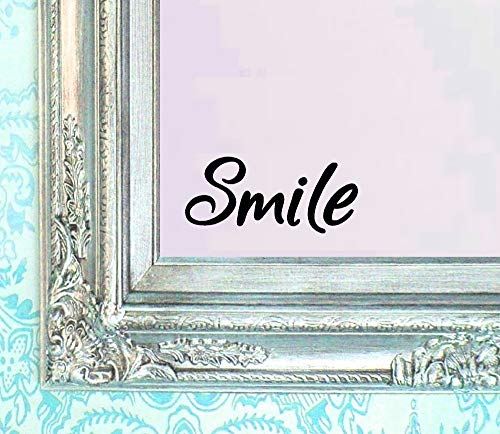 BERRYZILLA Smile Decal Vinyl Sticker Bathroom Mirror Wall Art Motivational Quote Mirror -