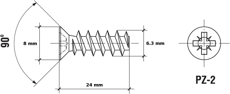 100 unidades HEXATON Tornillos europeos con cabeza plana para bisagras 6 x 8 mm gu/ías para cajones
