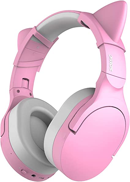 Amazon Com Somic Sc2000 Pink Bluetooth Wireless Headphones Noise Canceling Gaming Headsets With Hifi Stereo Sound Soft Protein Earpads 38h Playtime Detachable Cat Ear Headset For Travel Work Home Audio Theater