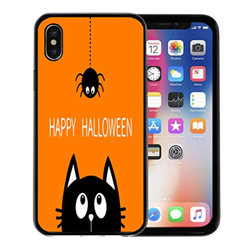 Semtomn Phone Case for Apple iPhone Xs case,Happy Halloween Black Cat Face Head Silhouette Looking Up to Hanging on Dash Line Spider Insect Cute for iPhone X Case,Rubber Border Protective Case,Black