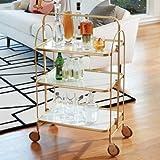 Mid Century Modern Gold Brass Serving Cart | Bar Trolley Wheels Rolling Metal