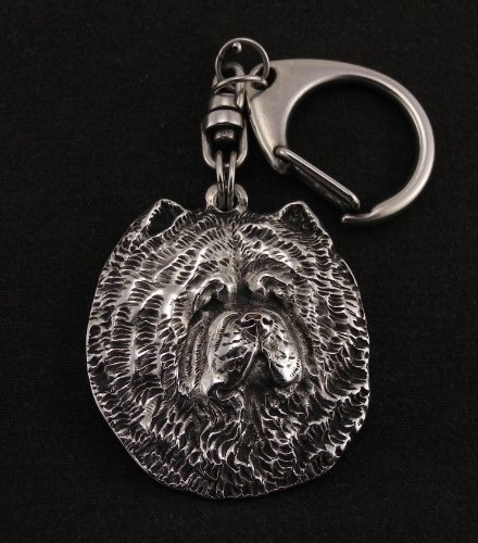 Chow Chow, Silver Hallmark 925, Silver Dog Keyring, Keychain, Limited Edition, Artdog by Art Dog Ltd.