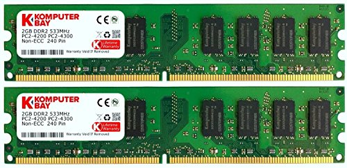 - Komputerbay 4GB 2x 2GB DDR2 PC2 4200 533Mhz 240 Pin DIMM 4 GB CL 4 KIT