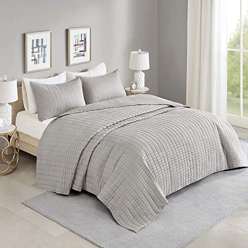 Comfort Spaces Kienna 3 Piece Quilt Coverlet Bedspread All Season Lightweight Filling Stitched Bedding Set, Oversized King, Gray ()